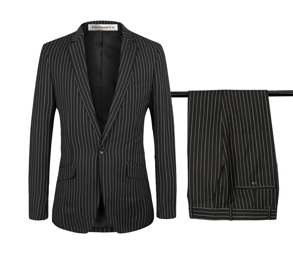 Hommes noir costume deux pièces costume hommes rayé coupe ajustée veste Cocktail fête pantalon marié costume pour mariage personnaliser grande taille S-6Xl