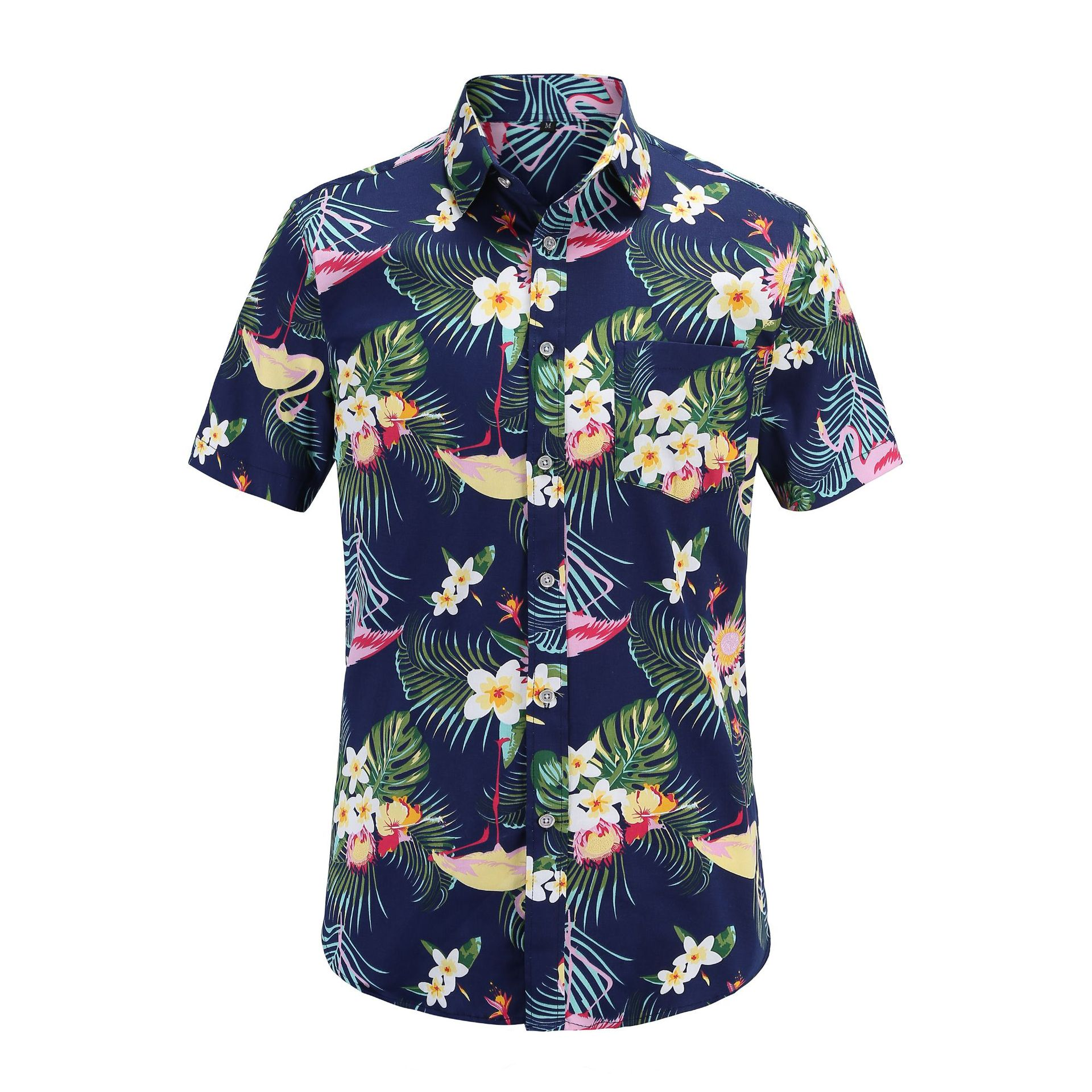 Fashion Mens Short Sleeve Shirt Beach Hawaiian Shirts Cotton Casual Floral Shirts Mens Clothing Plus Size in Casual Shirts from Men 39 s Clothing