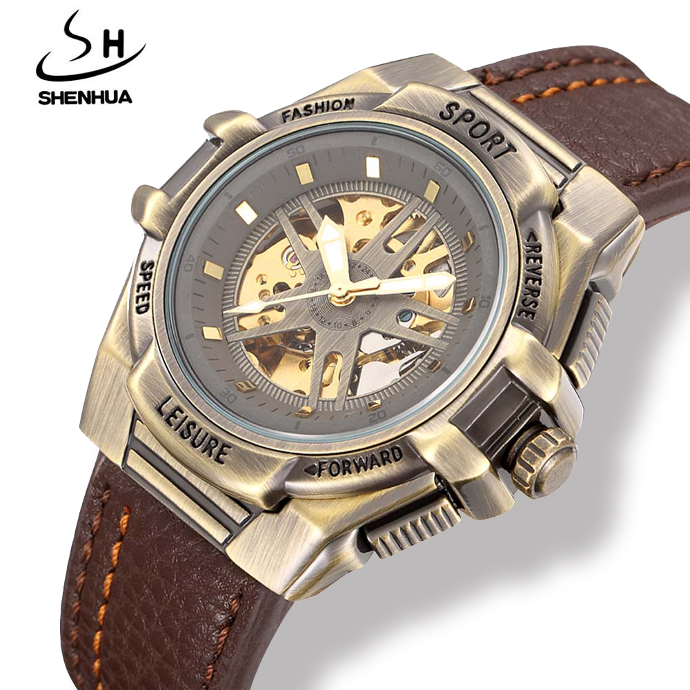 Shenhua Mens Steampunk Skeleton Automatic Watch Men Mechanical Retro Bronze Leather Sport Watches Colck Man Relojes Hombre shenhua steampunk transparent skeleton automatic wristwatch genuine leather strap diamond mens dress mechanical watches gift