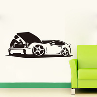 Man Repair His Auto Vinyl Wall Sticker Self Adhesive Art Decals For Car Rpair Shop Home