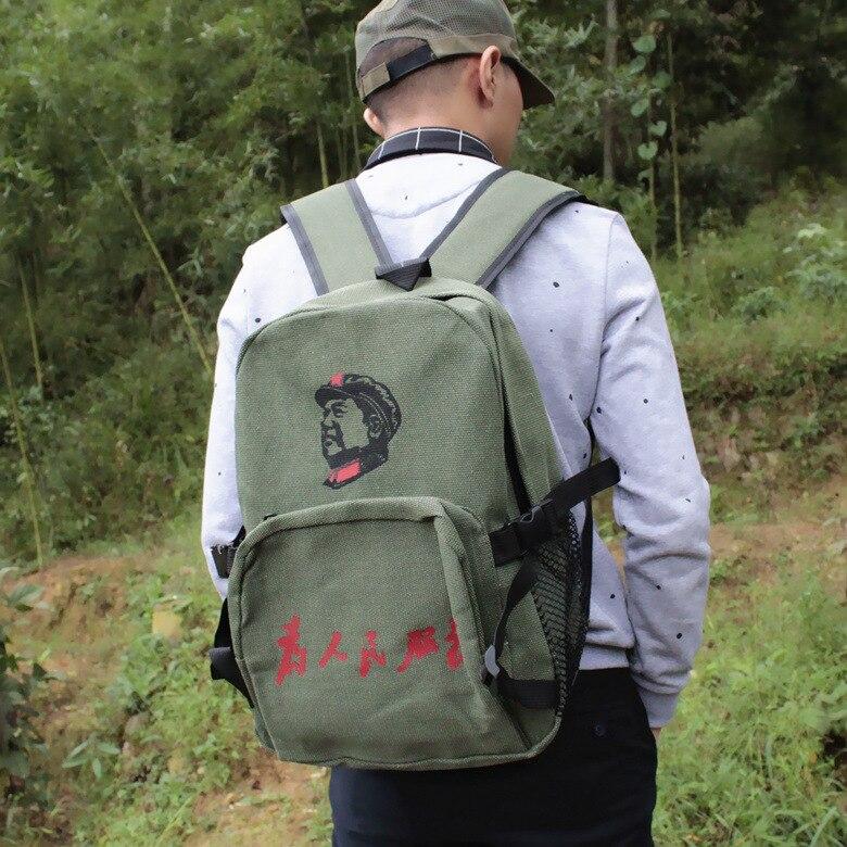 Старомодный Ностальгический зеленый холщовый рюкзак на плечо, сумка LeiFengBao the red guards, народный освободительный рюкзак для отдыха