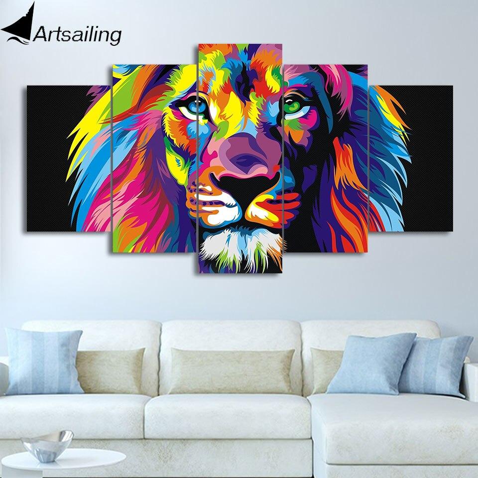 Artsailing 5 stück malerei bunte lion malerei leo elefanten hund giraffe adler bär tiere malerei wand kunst leinwand HD drucken