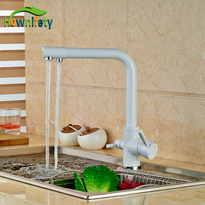Euro Style White Color Kitchen Faucet Double Handles Swivel Spout Mixer Faucet Deck Mounted antique brass swivel spout dual cross handles kitchen
