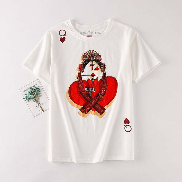 Zuolunouba Playing Cards In Harajuku T Shirt Women New Casual Short Sleeve Summer Tees Tops Loose 5