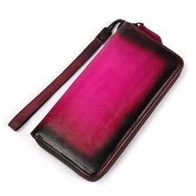 купить Wallet Female Genuine Leather Wallet Vintage Purse Top Quality Women Wallets Long Coin Purse Card Holders Carteras Clutches Bag дешево