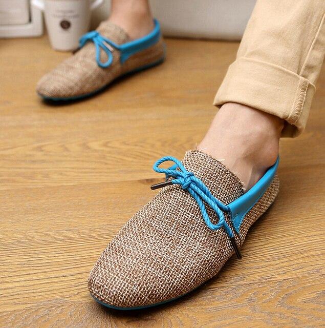 Мода мужской обуви туфли-причинных дышащая летние ботинки квартиры мокасины обувь размер 39 - 44 5c36