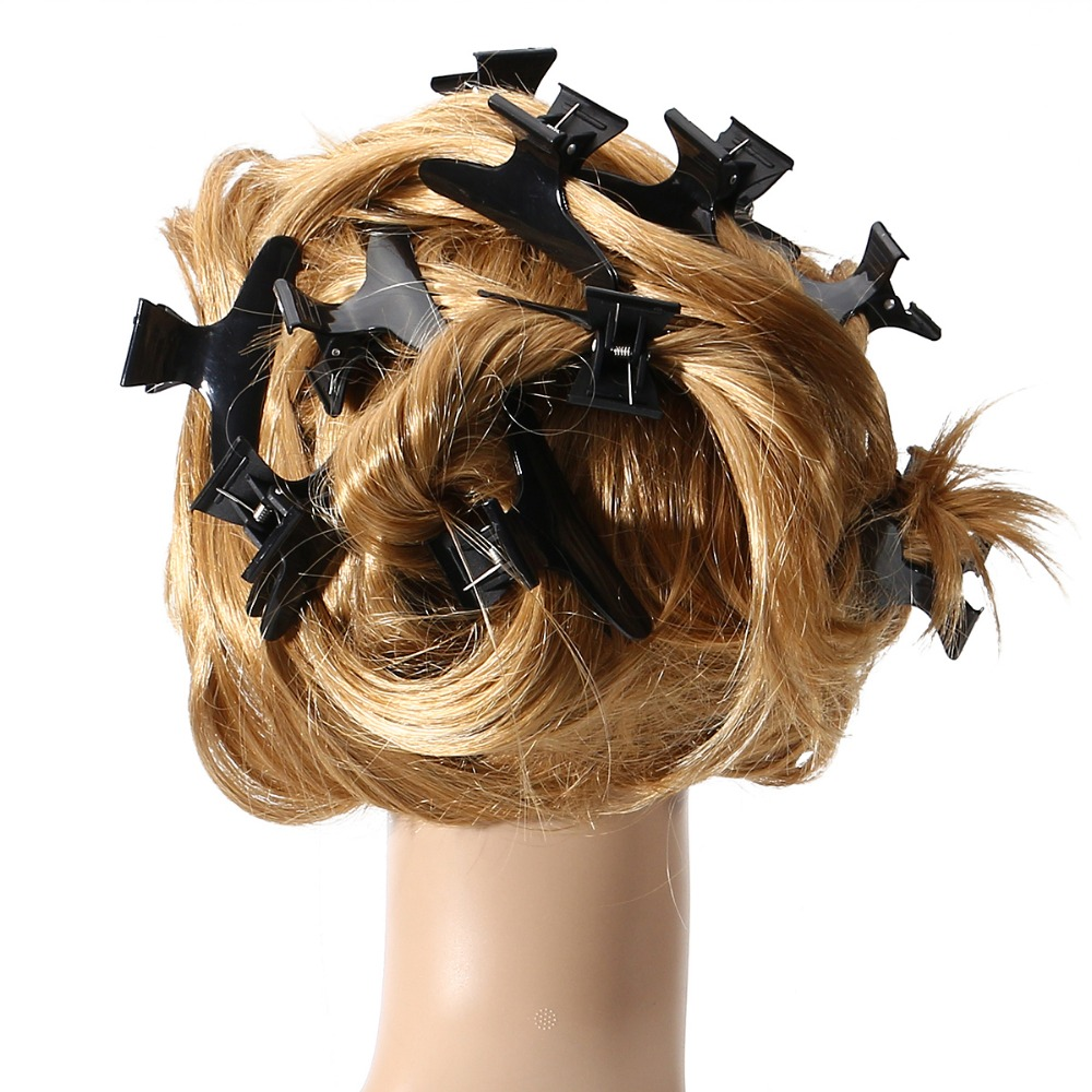 12pcs Salon Hairdressing Hairdressers Alligator Black Hair