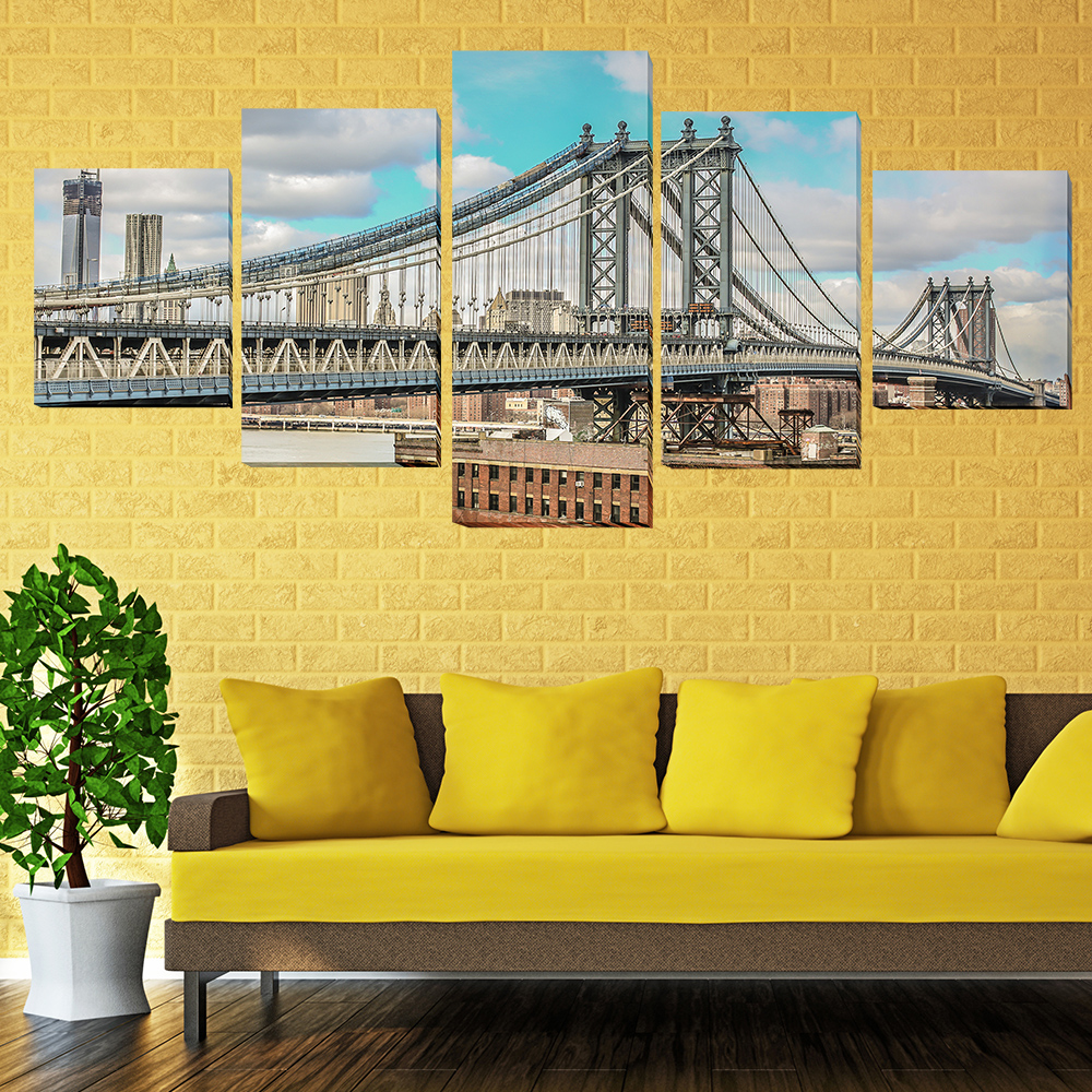 5 Pcs Canvas Art Paint San Francisco Bridge Oil HD Printed Painting ...