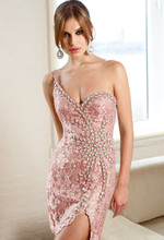 2015 Hot Sale One Shoulder Crystal Lace Sheath Mini Cocktail Dresses Free Shipping Sexy Short Party Prom Dress Vestido de Festa