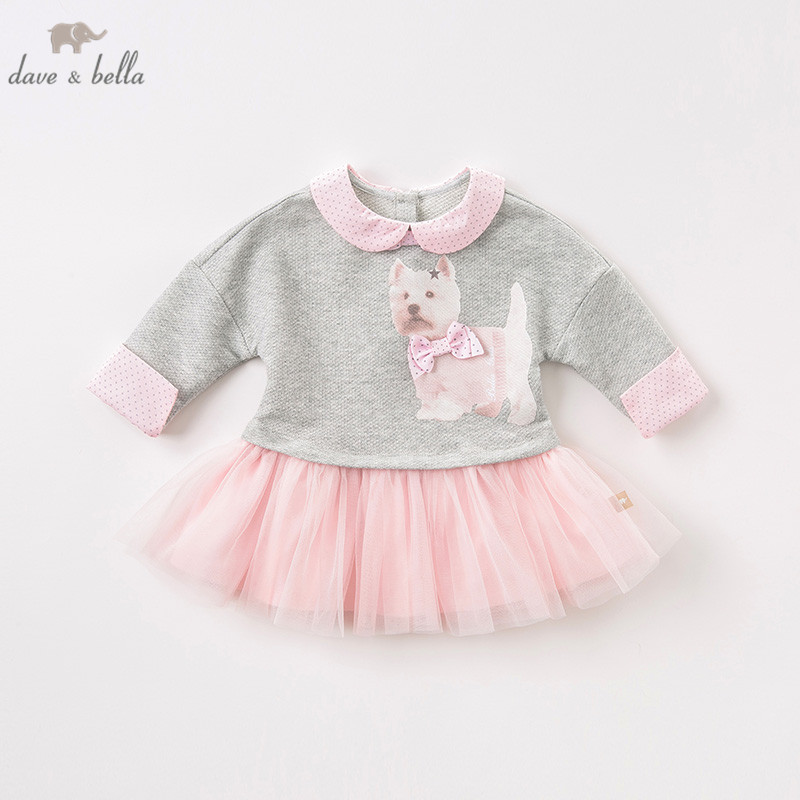 DB8415 dave bella autumn baby long sleeve dress girls mini dress children party birthday clothing infant toddler mesh clothes-in Dresses from Mother & Kids    2