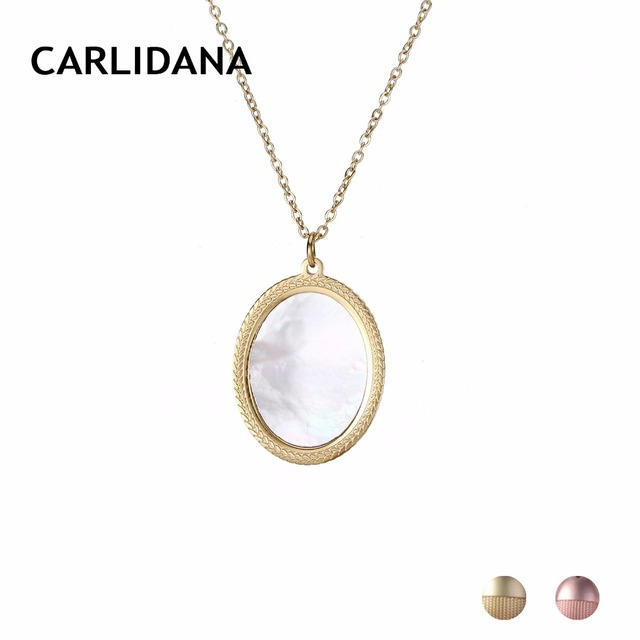 Stainless Steel Pendant Necklace For Woemn Round Circle With Shell Short Statement Necklace Trendy Fashion Jewelry CARLIDANA