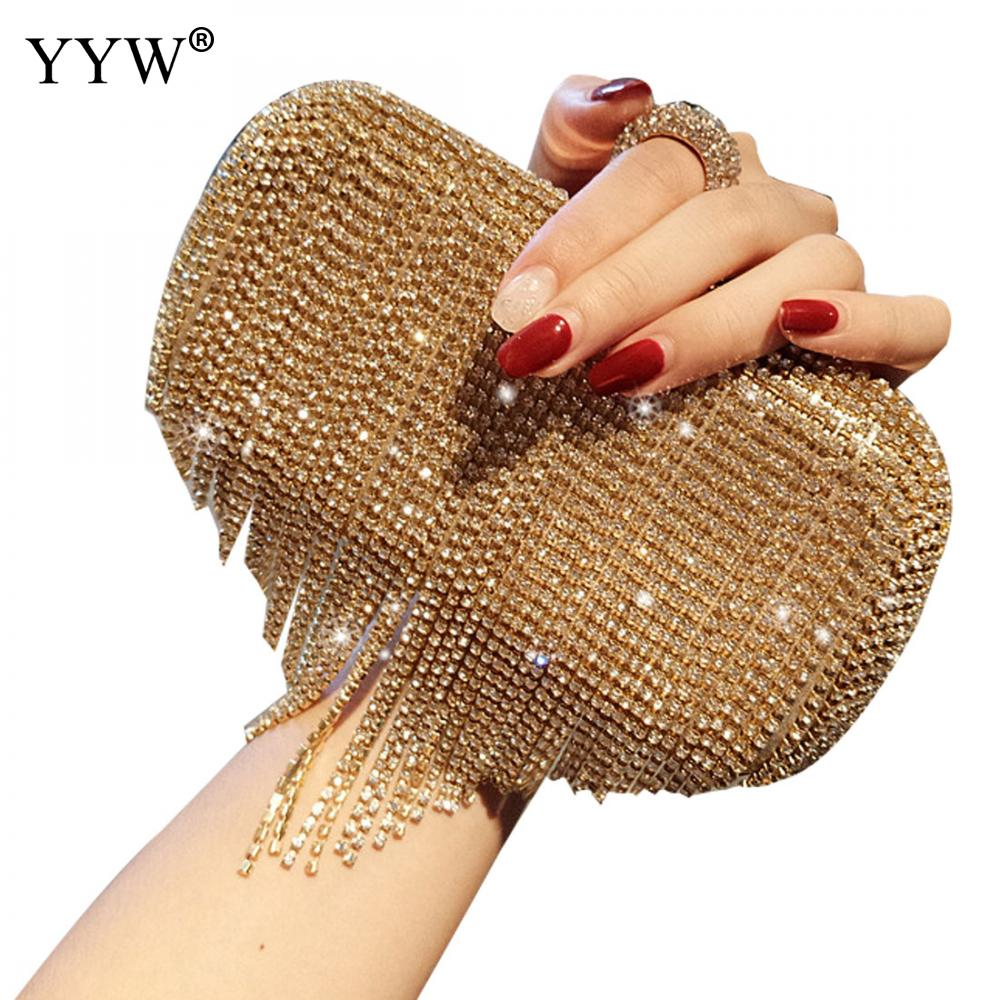 Tassel Gold Ring Clutch Wallets For Women Rhinestone Evening Party Purse Handbag Chain Crossbody Bag Female Clutch Weeding SacTassel Gold Ring Clutch Wallets For Women Rhinestone Evening Party Purse Handbag Chain Crossbody Bag Female Clutch Weeding Sac