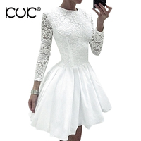 Kuk 4 Color Evening Party Dress Women Long Sleeve White Red Black Pink Lace Dress Female Elegant Vestidos A235
