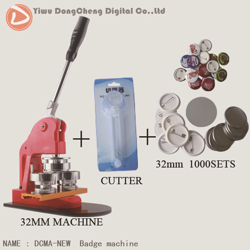 Free Shipping 1.1/4(32mm) Button Badge Maker Machine + Adjust Circle Cutter+1000 Plastic Pin Badge Buttons Material