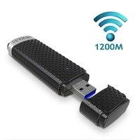 Toptan Mini 2.4 GHz/5.8 GHz dual-band USB3.0 1200 Mbps 11AC müdahale ile kablosuz adaptörü WIFI ağ kart