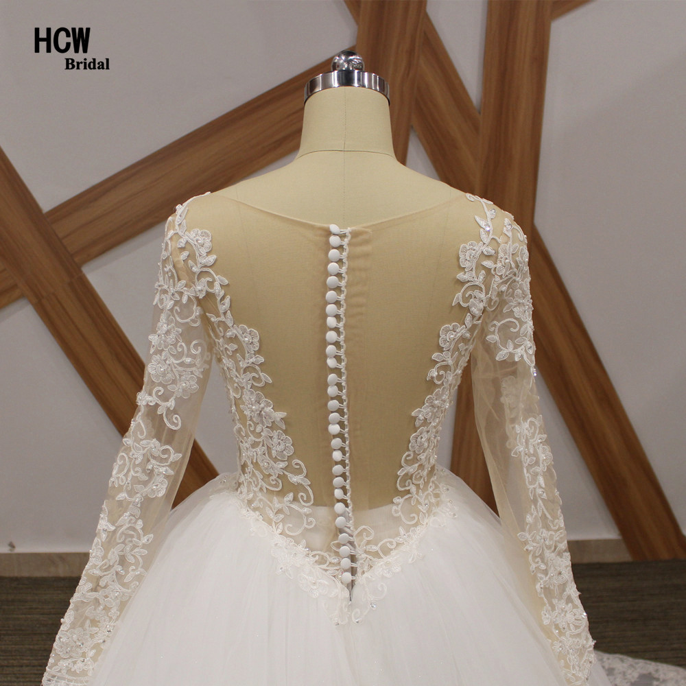 Romantische lange mouw koninklijke trein trouwjurk 2019 v-hals - Trouwjurken - Foto 3