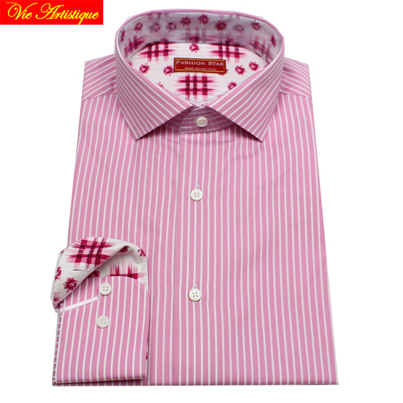 8c2fb11820 designer men's long sleeve white pink striped dres... US $149.90. men's  dress shirt ...