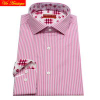 designer men's long sleeve white pink striped dress shirts male tailored 6789 XL business office cotton slim fit 2018 spring