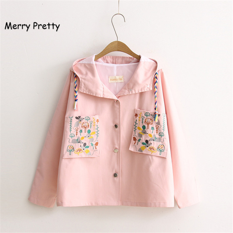 MERRY PRETTY Pink Jacket Women Coat Japan Style Mori Girl Character Embroidered Solid Color Casual Loose Hooded Female Outerwear