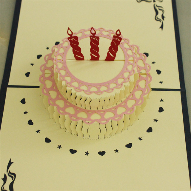 Beautiful Happy Birthday Cake 3d Laser Cut Pop Up Paper Handmade
