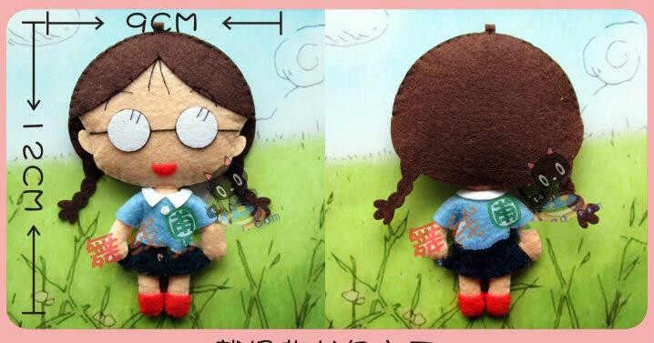 Cereja criança boneca Tecido Sentiu kit conjunto De Costura Feltro Não-tecido de pano Artesanato DIY Handwork DIY Material de costura suprimentos