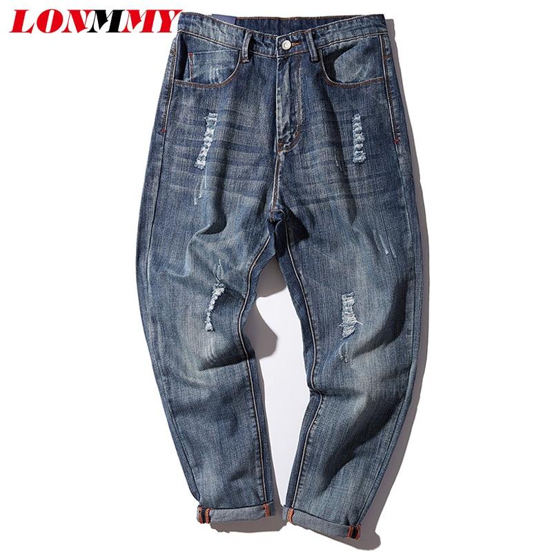 LONMMY M-4XL Cheap jeans men denim Cotton Hole design Harem pants Slim fit Skinny Small bottom Casual trousers mens jeans 2017 bts v fashion k pop punk iron hole hats adjustable baseball cap