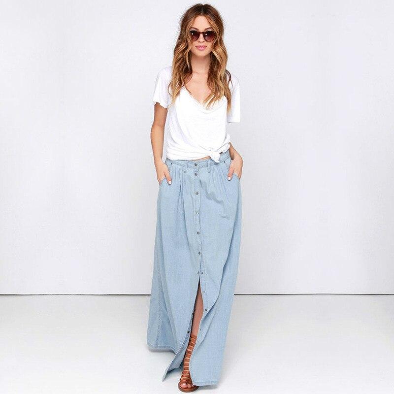 c686e67c2 Nueva Tallas grandes Marca Casual Denim Falda/Largo Maxi Femenina Primavera  Verano Para Mujer Faldas de Jean/Para Mujer Faldas Largas en de