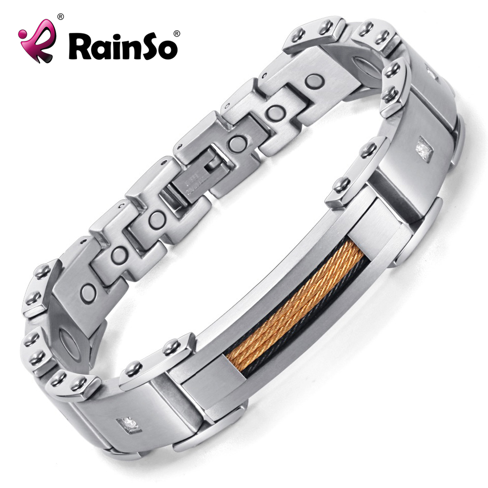 Rainso Magnetic Bracelets 2019 New Fashion Jewelry 316L Stainless Steel Bracelets For Men & Women 8.5 Bio Energy BangleRainso Magnetic Bracelets 2019 New Fashion Jewelry 316L Stainless Steel Bracelets For Men & Women 8.5 Bio Energy Bangle