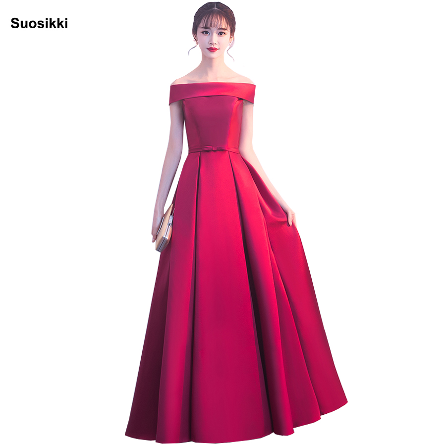 Suosikki Simple Long Evening Dress The Bride Banquet Satin Boat Neck Off-the-shoulder Floor-length Sexy Party Gown Custom Made