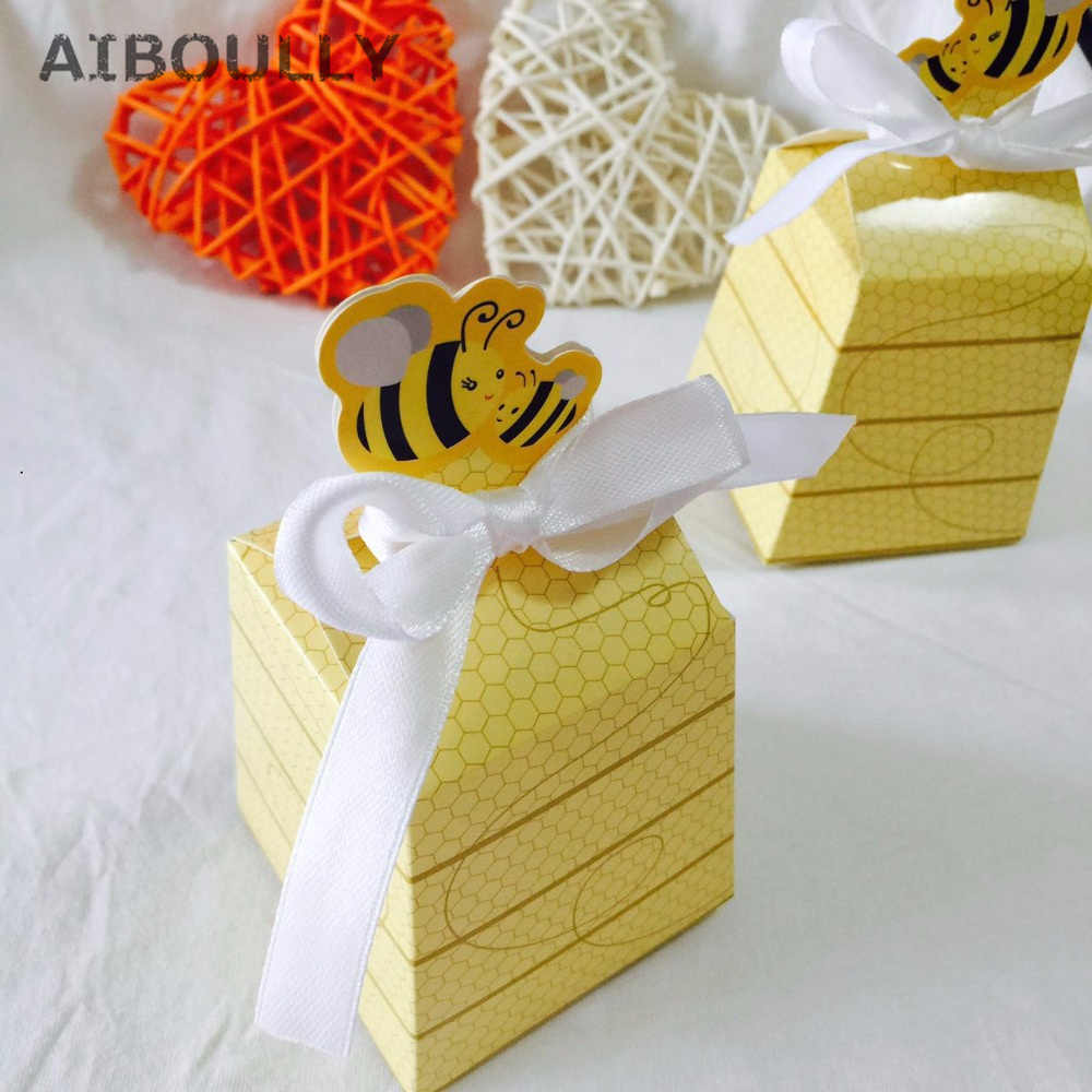 50pcs Lot Yellow Bee Honey Favors Candy Boxes Gift Box With White Ribbons For Baby Shower Birthday Favors And Gifts Kids Party