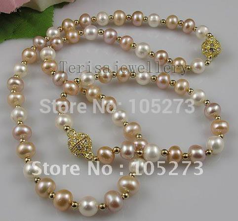 pearl jewelry set AA 8 9MM White pink purple color Genuine Freshwater pearl woman s jewelry