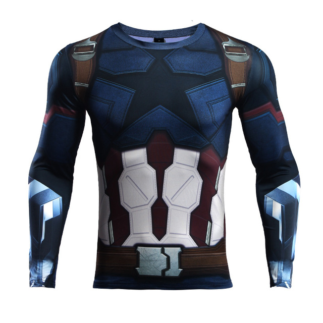 623d06a2f5778 Avengers 3 Captain America 3D Printed T shirts Men Compression Shirt 2018  Comics Cosplay Costume Clothing Long Sleeve Tops Male