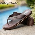 CuddlyIIPanda Brand 2017 Summer Rome Style Men Flip Flops Beach Sandals Leather Slides Leisure Flat Sandals Zapatos Hombre