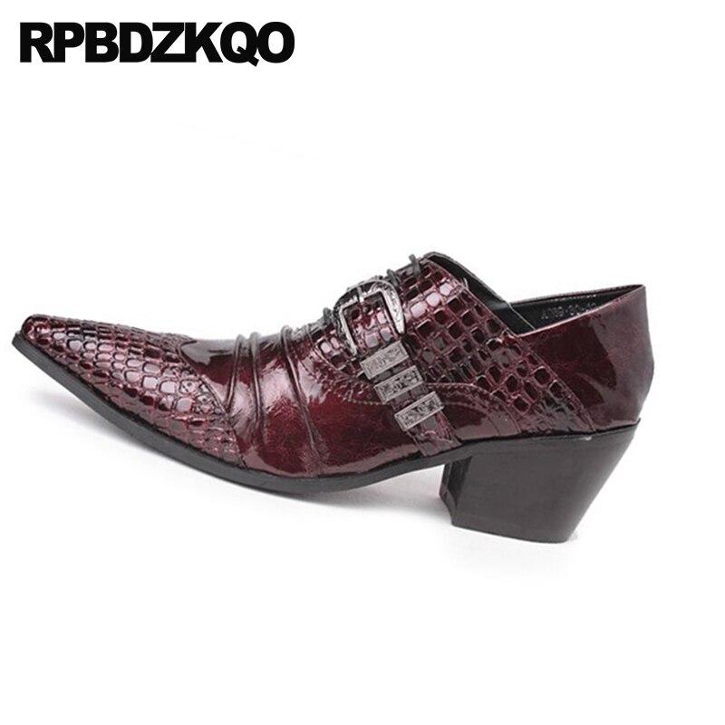 Rouge Cuir Vin Crocodile Bourgogne En Peau Sangle Talon Grande De Taille Alligator Python Serpent Marque Haut Moine Bureau Luxe Chaussures Hommes 8AqRxHf
