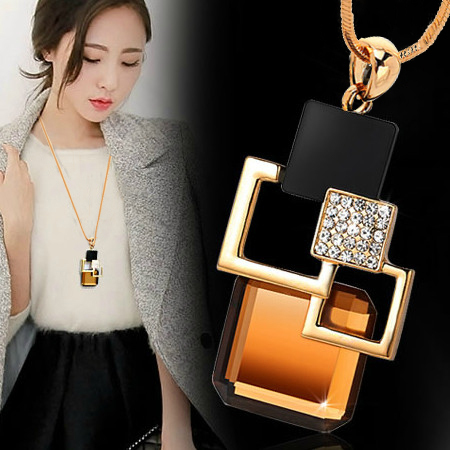 European and American New fashion Golden Hollow Geometric Big Crystal Stone Pend