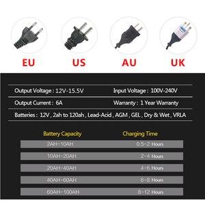 Image 4 - 12 V 6A LCD Inteligente Rápido Carregador de Bateria de Carro para Auto Moto GEL AGM Baterias de Chumbo Ácido Inteligente De Carregamento 12 V 6 UM AMP Volt