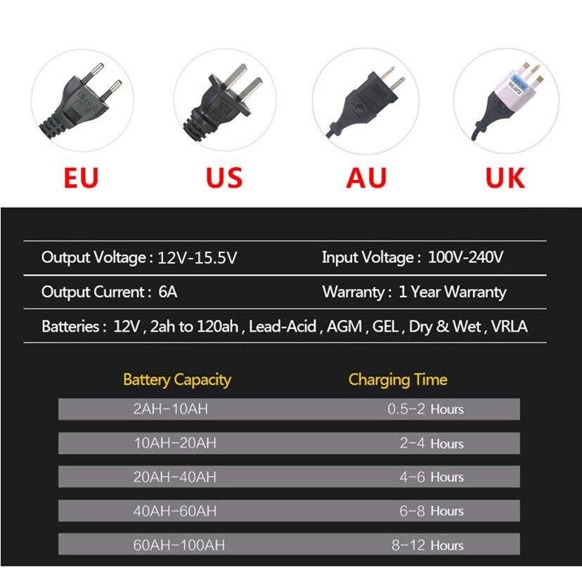 Image 4 - 12 V 6A ЖК дисплей смарт адаптер для быстрого автомобильного Батарея Зарядное устройство для авто свинцово кислотная аккумуляторная коллоидная батарея интеллигентая (ый) зарядки 12 вольт 6 A AMP-in ЗУ для аккумуляторов from Автомобили и мотоциклы