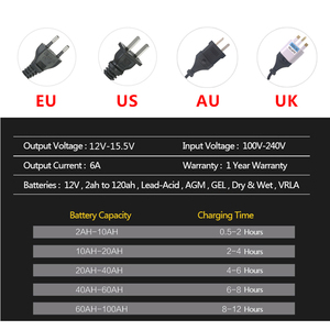 Image 4 - 12V 6A LCD Smart Fast Car Battery Charger for Auto Motorcycle Lead Acid AGM GEL Batteries Intelligent Charging 12 V Volt 6 A AMP
