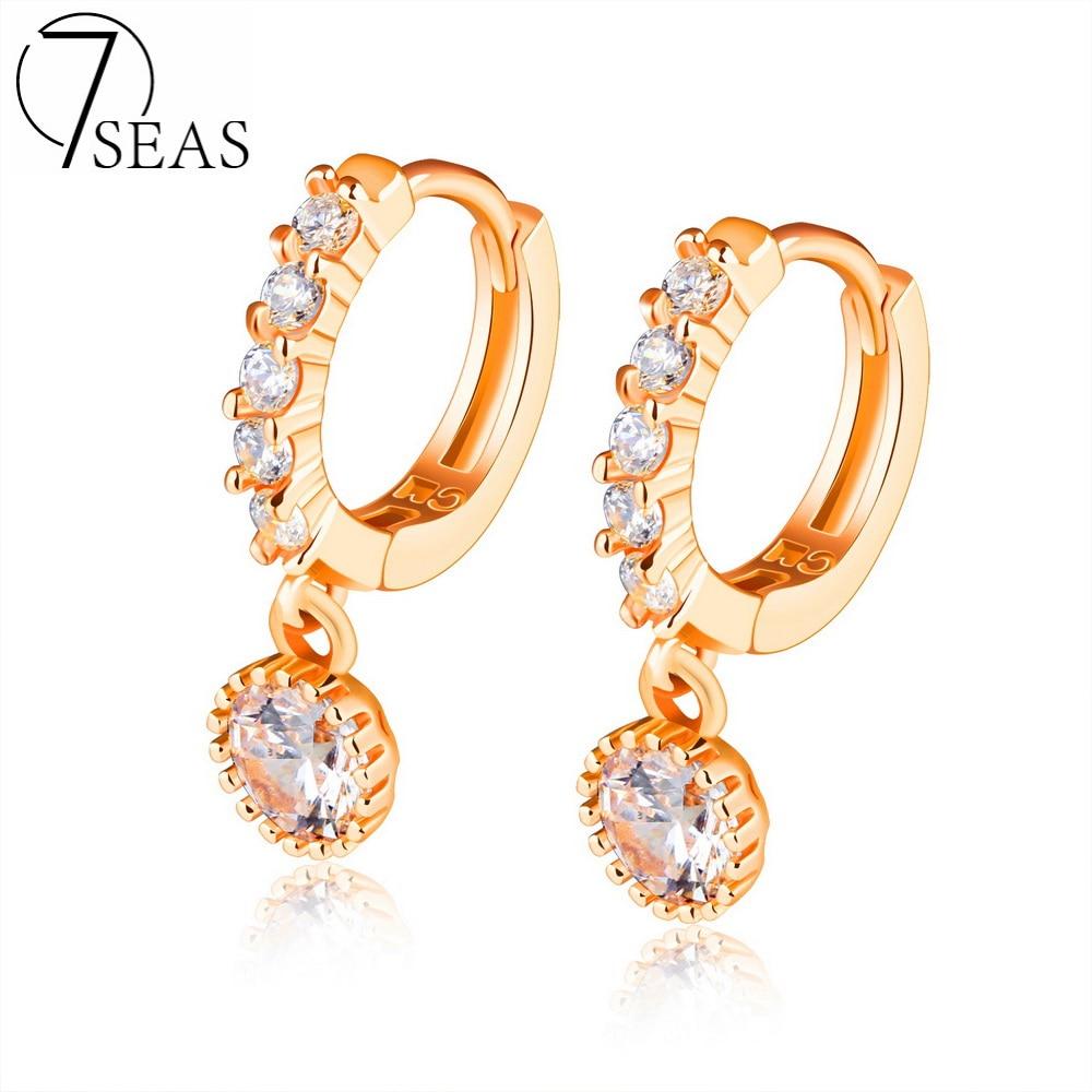 7SEAS Champagne Gold Plated Dangle font b Earrings b font Women Engaging Party Wedding Cubic Zirconia