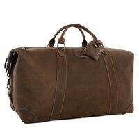 ROCKCOW Super Large Genuine Travel Bag Italian Leather Weekender Duffle Bag DZ07