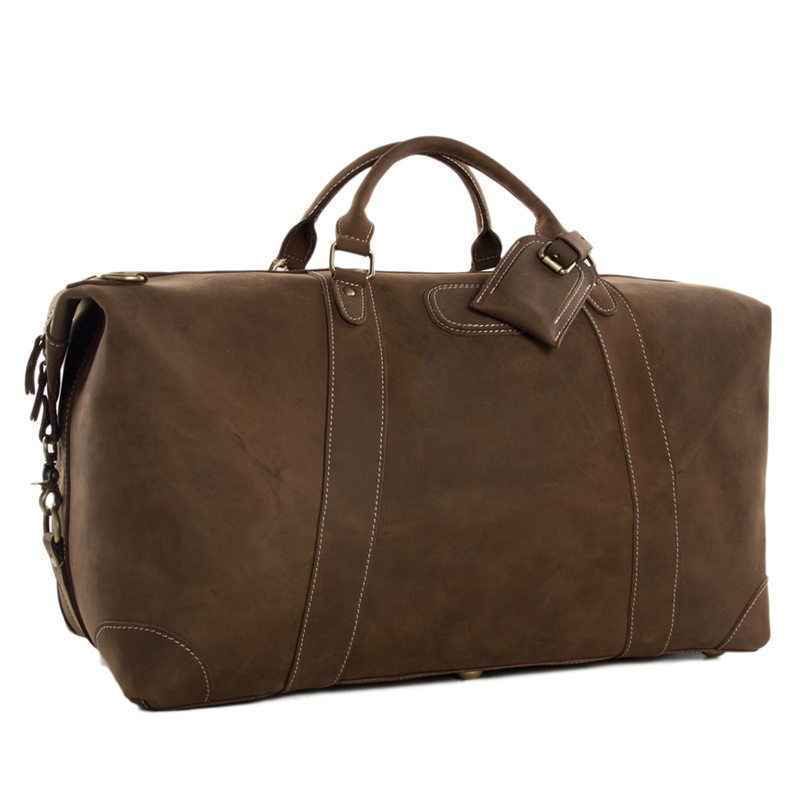 ROCKCOW Super Grande Genuino Borsa Da Viaggio In Pelle Italiana Weekender Duffle Bag DZ07
