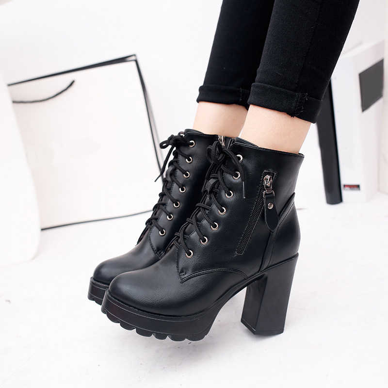 28b7fc057d6 2019 Women Ankle Boots Lace-Up Square Thick Heels PU Zip Boots Ladies  Platform Spring