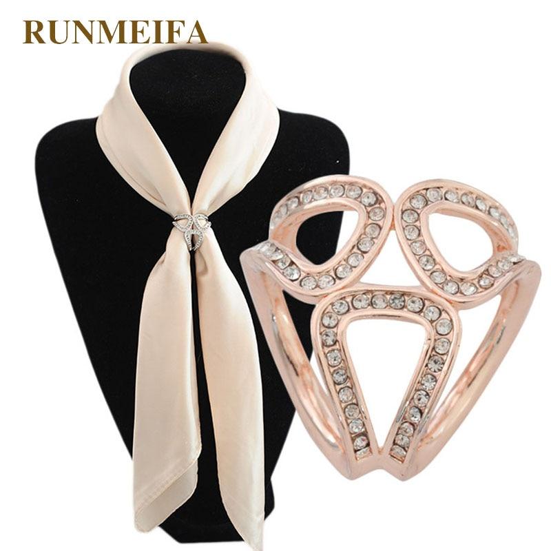 RUNMEIFA Three Circle Silk Scarf Buckle New Precision Polishing Products Word Exquisite Rhinestone Studded Silk Scarf Buckle