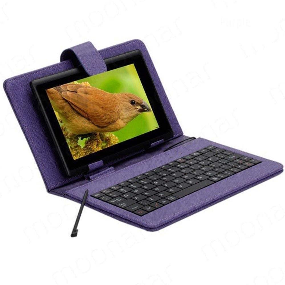 Anglais langue Mini CLAVIER CAS pour 7 pouces android Tablet Micro USB clavier avec PU cas de Stand en cuir