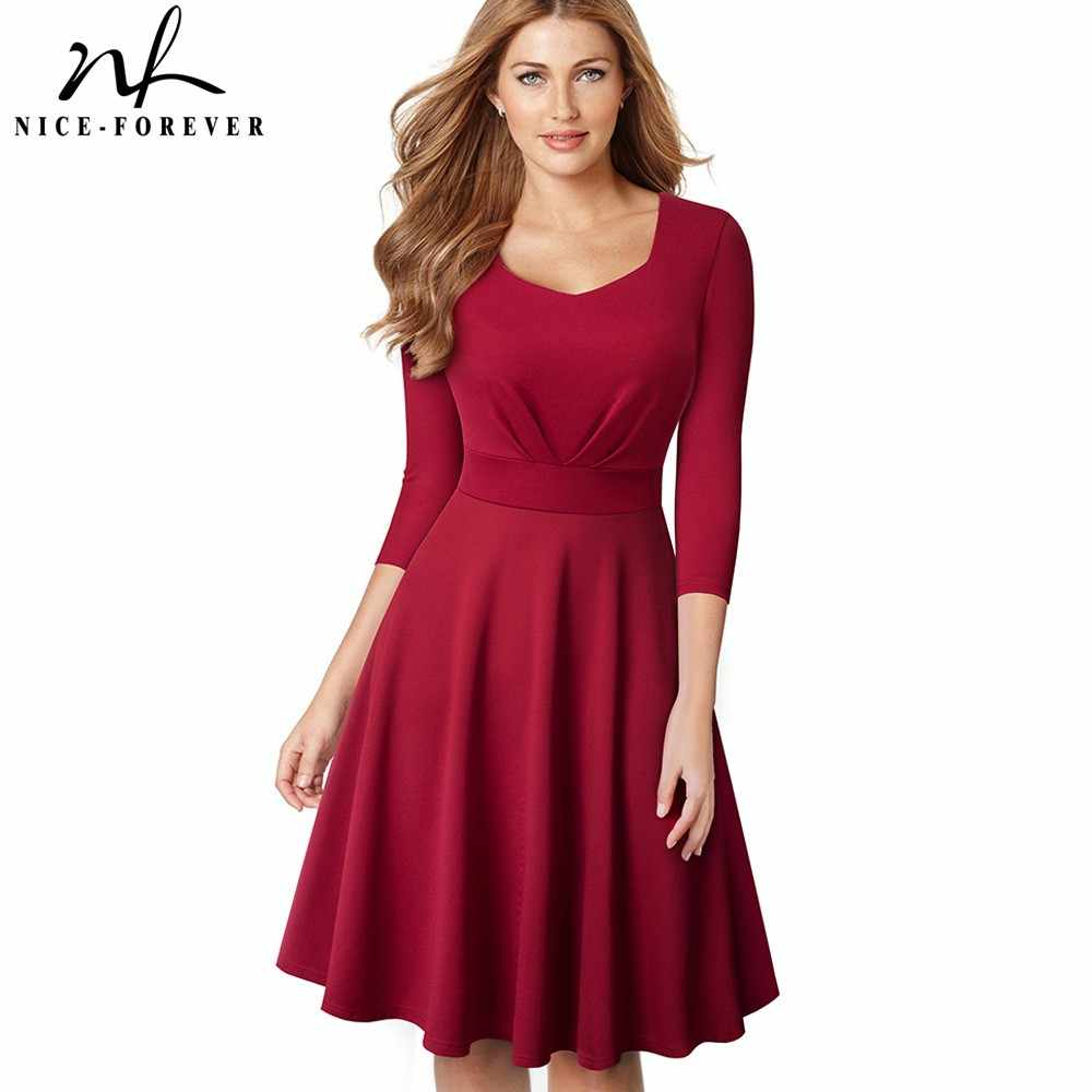Nice-forever Elegant Retro Pure Color Sweat-heart neck Pinup vestidos  Business Party Flare 7a15350485c8