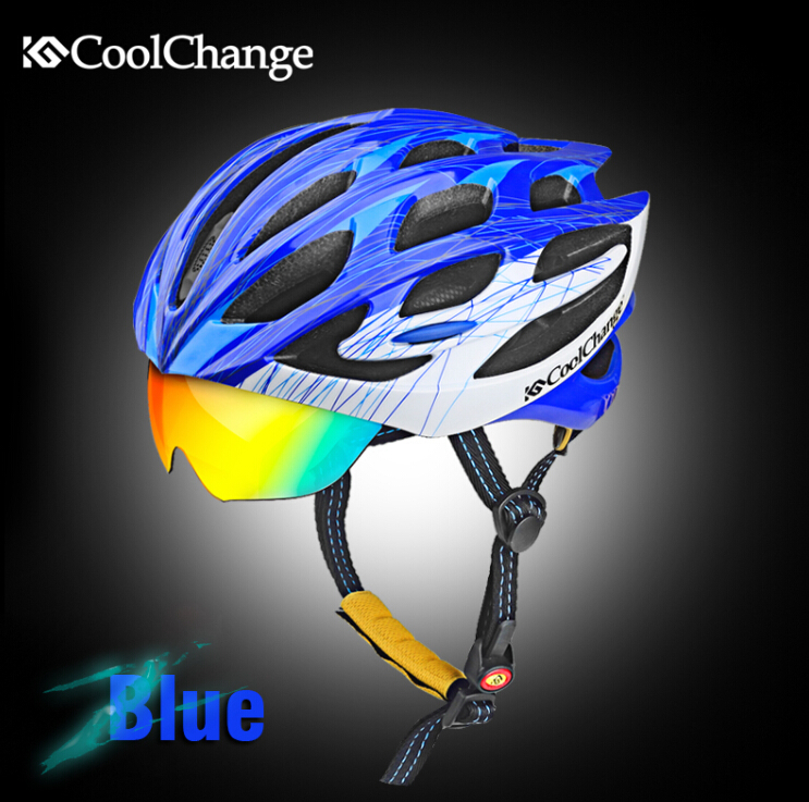 ФОТО CoolChange Unisex Bicycle Cycling Helmet Safety EPS+PC Material Protecting Helmet With 3 Lenses SIZE:55-64cm