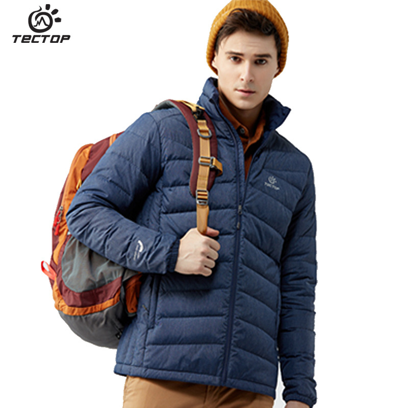 Tectop 2018 Autumn and Winter New Outdoor Men's Down Jacket Thick Stand Collar Men's Hiking Down Coat Sports Camping Jacket Blue stand collar 3d stars and striped print zip up padded jacket