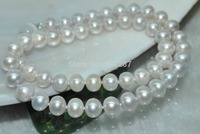 100% Selling Picture full Natural Rare Gray 9 10mm near round bread cultured Pearl Necklace