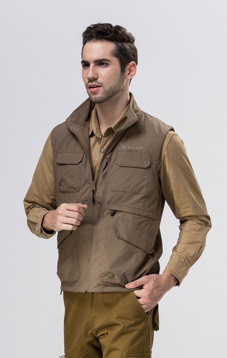 2015 Autumn Spring Casual Men Vest Coat Fleece AFS JEEP Cotton Multi Pocket 4XL Cargo Outdoor Sleeveless Jackets Waistcoat Vests (6)
