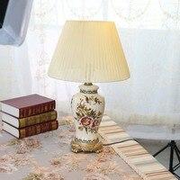Распродажа Классические европейские ретро ручная роспись лед трещина Керамика ткань Led E27 Настольная лампа для Гостиная Спальня 80 265 В 1300